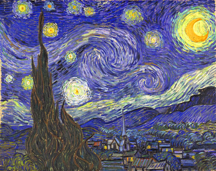 Starry Night, Oil on canvas 73.0 x 92.0 cm. Saint-Rémy: June, 1889 (New York: The Museum of Modern Art)