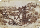 Leonardo's earliest known drawing, the Arno Valley (1473), Uffizi