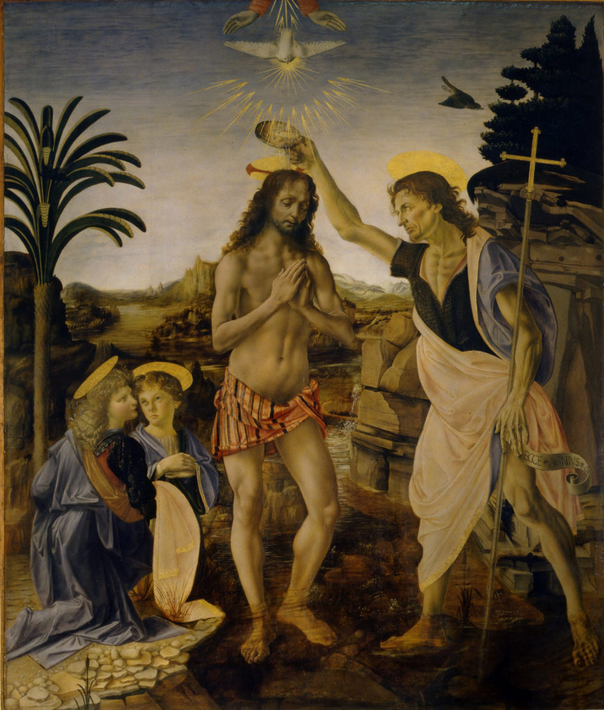 The Baptism of Christ by Andrea del Verrocchio. 177 x 151 cm. Assisted by Leonardo da Vinci. Uffizi Gallery, Florence