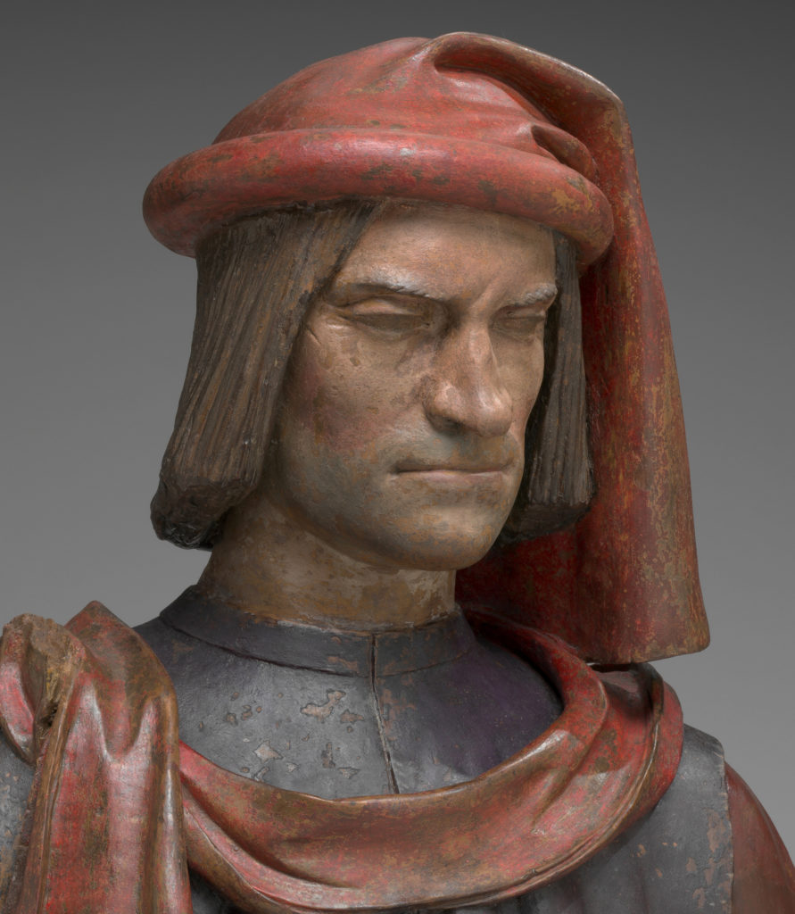 Bust of Lorenzo de' Medici - 15th or 16th century terra-cotta bust, probably based on 1478 life-like wax sculptures by Andrea del Verrocchio and Orsino Benintendi.
