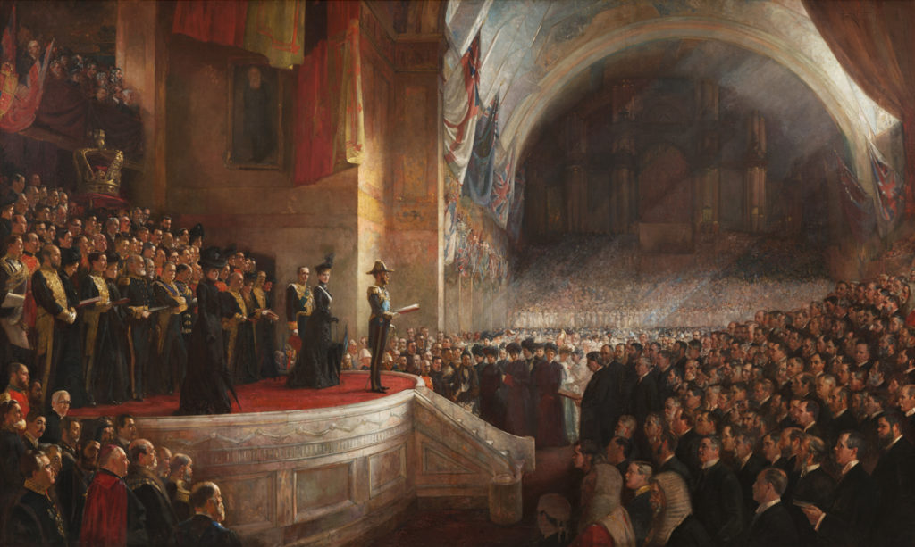 The Big Picture (1903) - The opening of the Parliament of Australia on 9 May 1901, Melbourne, Australia. - Height: 358.4 cm (11.7 ft); Width: 504.3 cm (16.5 ft)