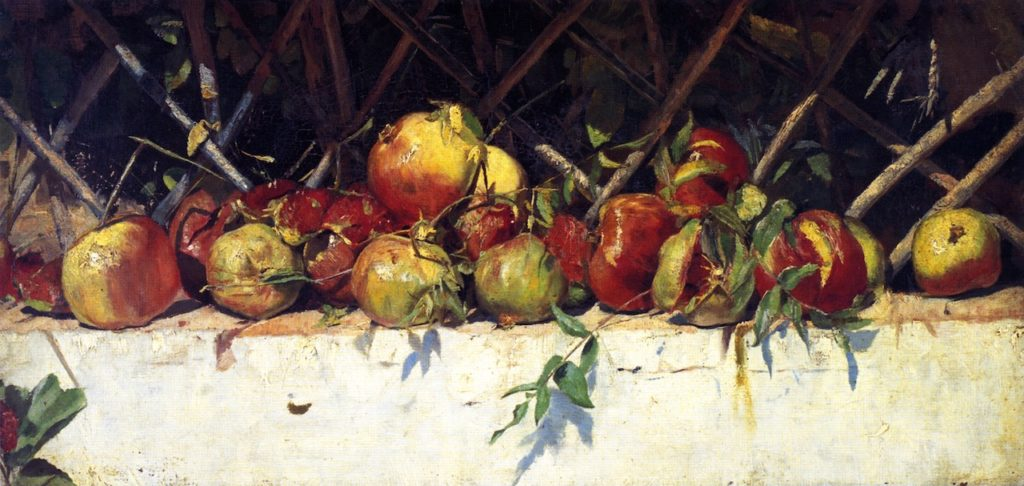 Still Life with Pomegranates (1883) - Height: 31.1 cm (12.24 in.), Width: 64.3 cm (25.31 in.)