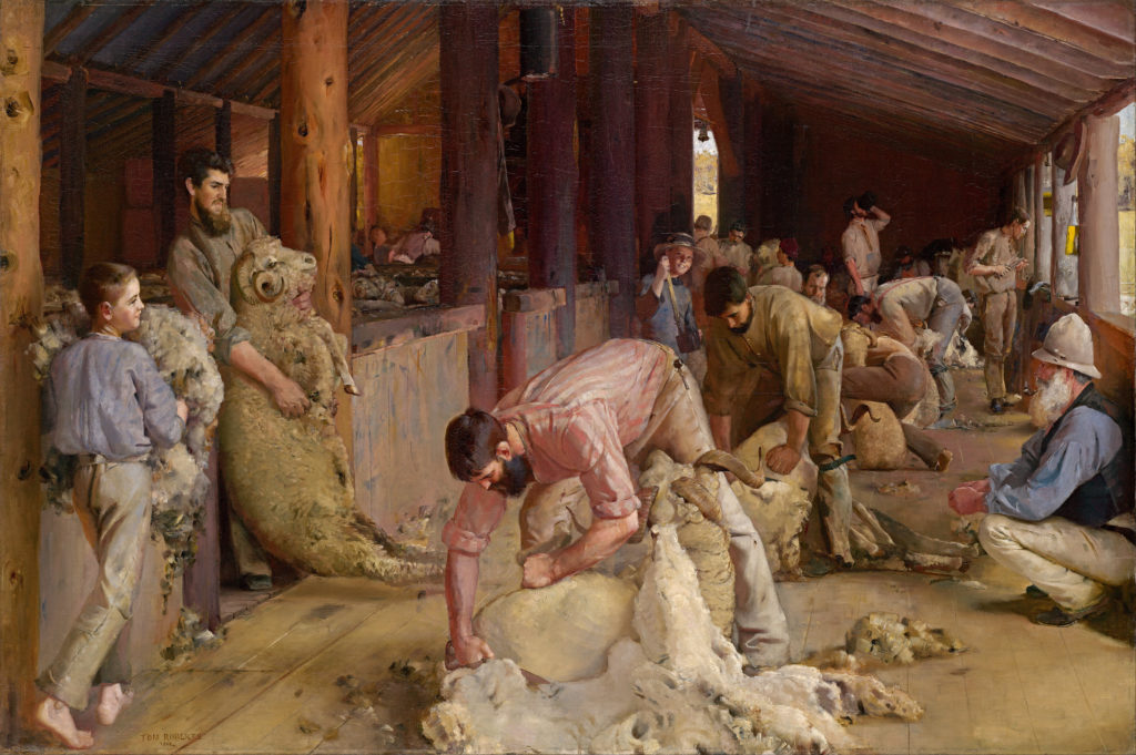 Shearing the Rams (1890) - Height: 122.4 cm (48.19 in.), Width: 183.3 cm (72.17 in.)