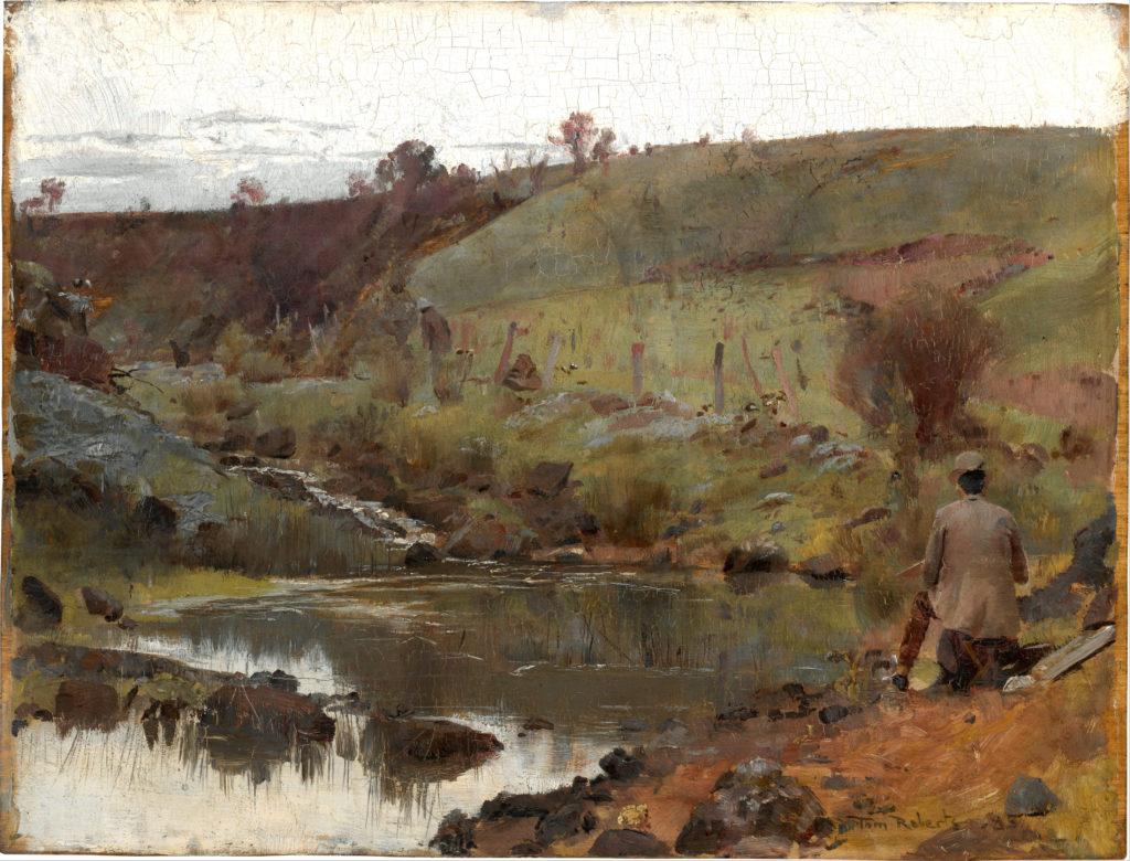 A Quiet Day on the Darebin Creek (1885) - Height: 26.4 cm (10.39 in.), Width: 34.8 cm (13.7 in.)