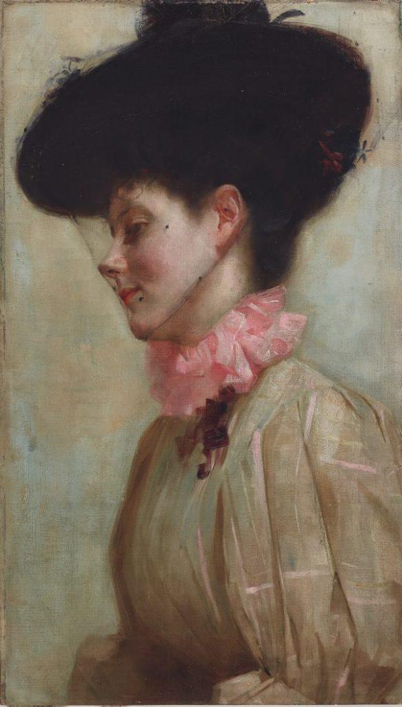 Portrait of Florence (circa 1898) - 66.6 x 38.7 cm stretcher; 95.0 X 68.0 x 5.5 cm frame