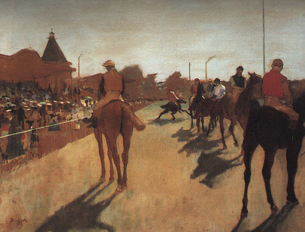 Racehorses in Front of the Grandstand