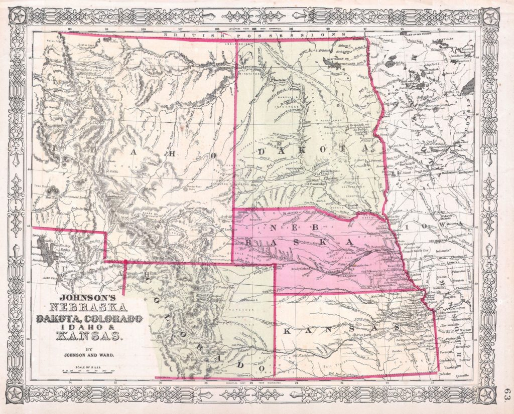 Where was The Ballad of Buster Scruggs filmed? - 1863 Johnson's Map of Colorado, Dakota, Idaho, Nebraska and Kansas. Alvin Jewett Johnson [Public domain]