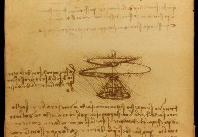 Leonardo da Vinci Helicopter | ''Air screw'' Codex Atlanticus f.844r is a drawing Ms B 83v by Leonardo da Vinci 1486-1490