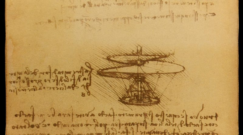 Leonardo da Vinci Helicopter | ''Air screw'' Codex Atlanticus f.844r is a drawing Ms B 83v by Leonardo da Vinci 1486-1490