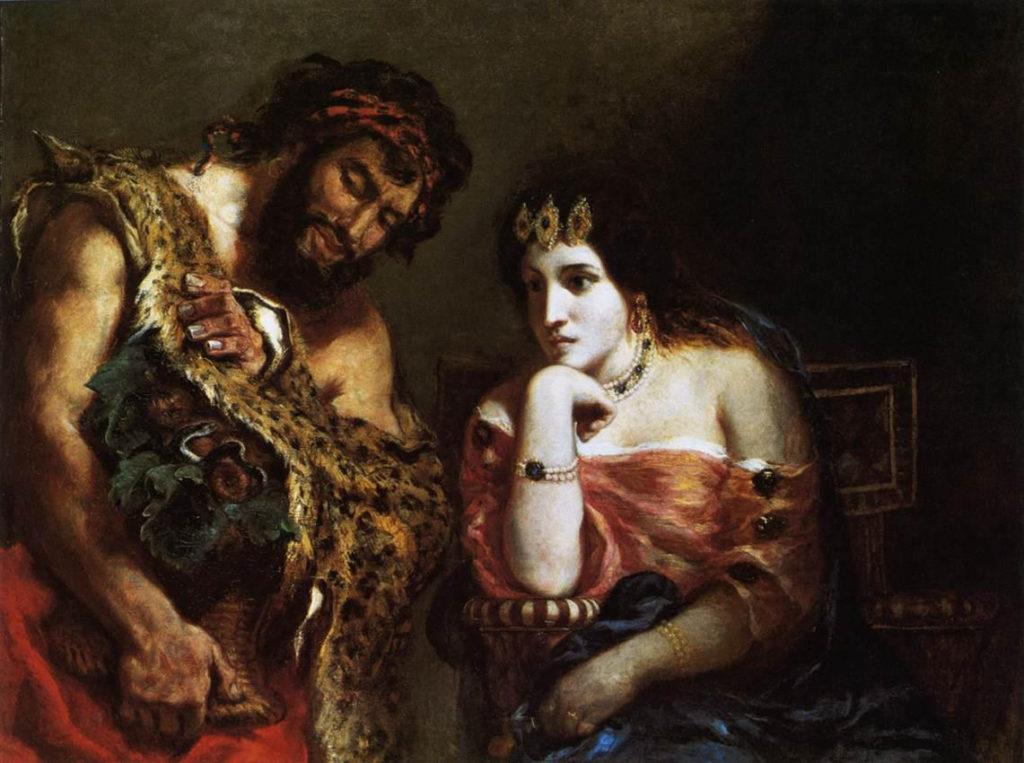 Cleopatra y el campesino por Eugène Delacroix
