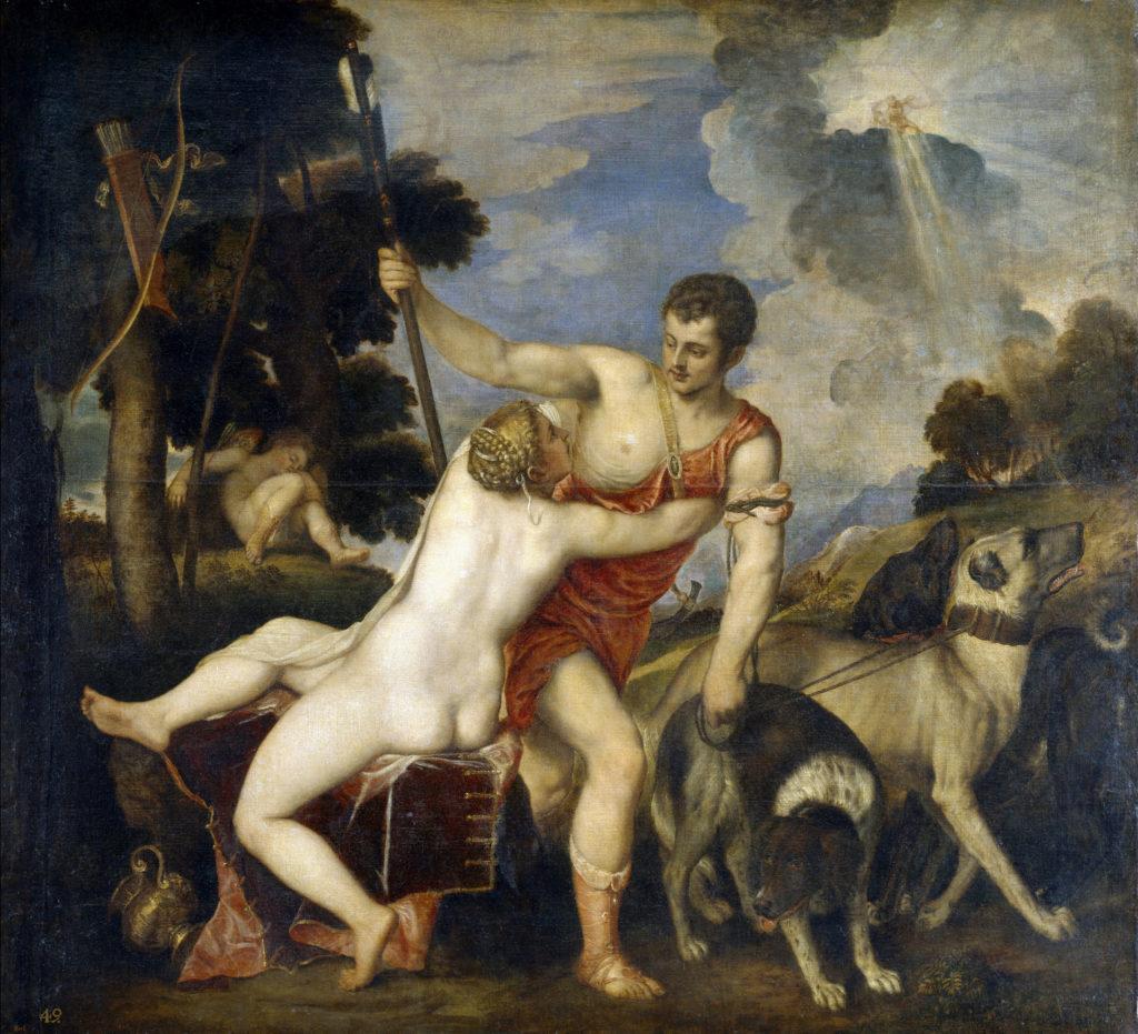Venus y Adonis por Tiziano