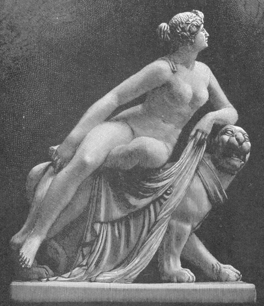 Ilustración de la estatua de Ariadna sobre pantera por Johann Heinrich von Dannecker