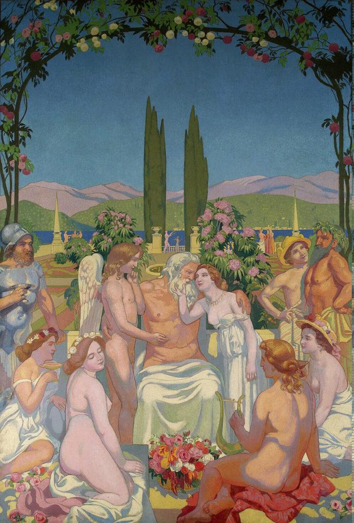 Júpiter otorga inmortalidad en Psique y celebra su matrimonio con Cupido por Maurice Denis