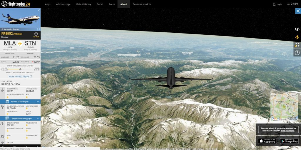 flight-radar-24 vista 3D
