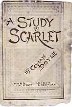 Portada hecha por Charles Altamont Doyle para la primera edición de Estudio en Escarlata, imagen original de https://upload.wikimedia.org/wikipedia/commons/b/ba/ArthurConanDoyle_AStudyInScarlet.jpg