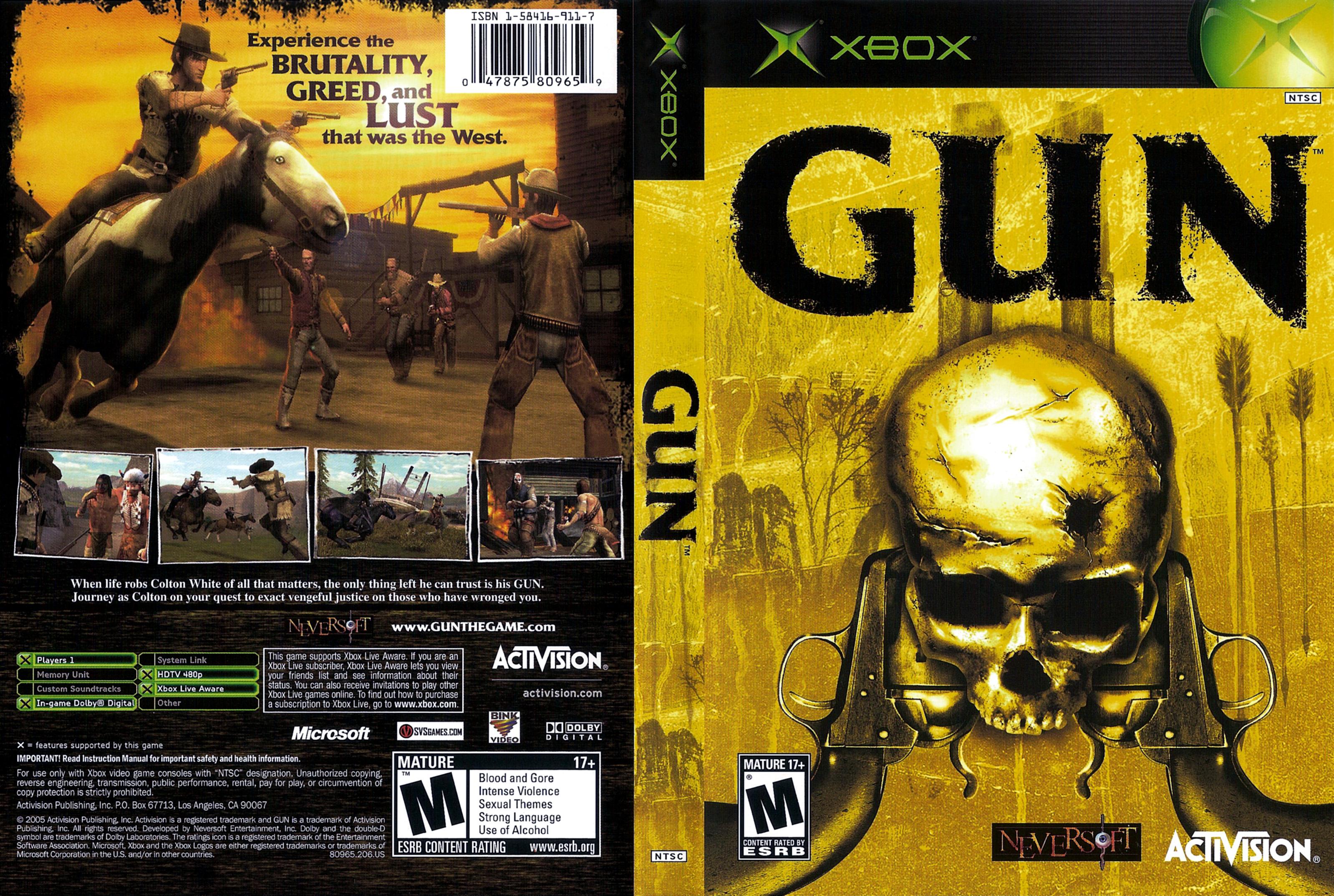 Portada y contraportada del juego Gun