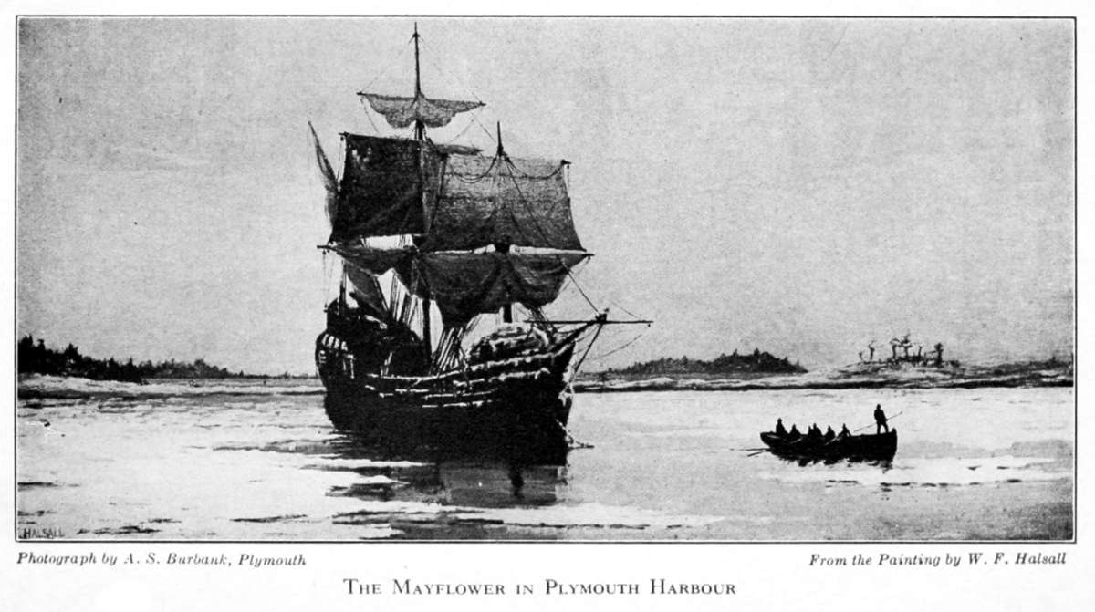 Fotografía realizada a un pintura del Mayflower