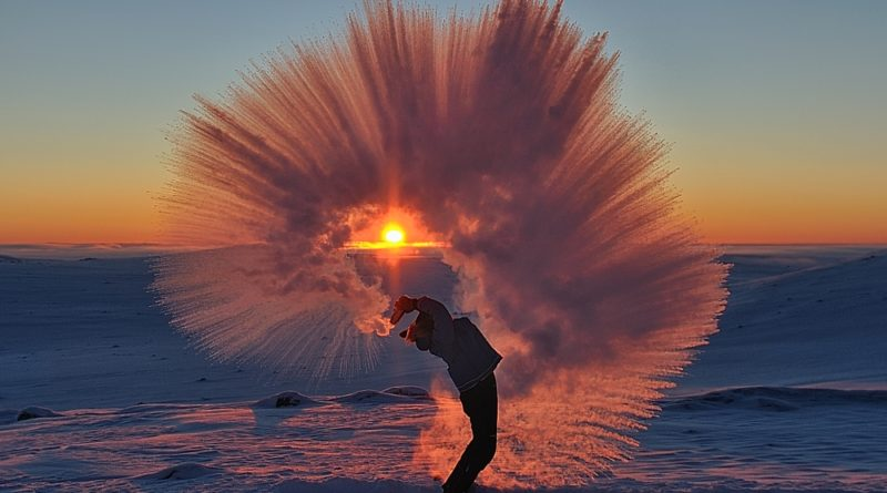 Esparciendo té a cuarenta grados bajo cero