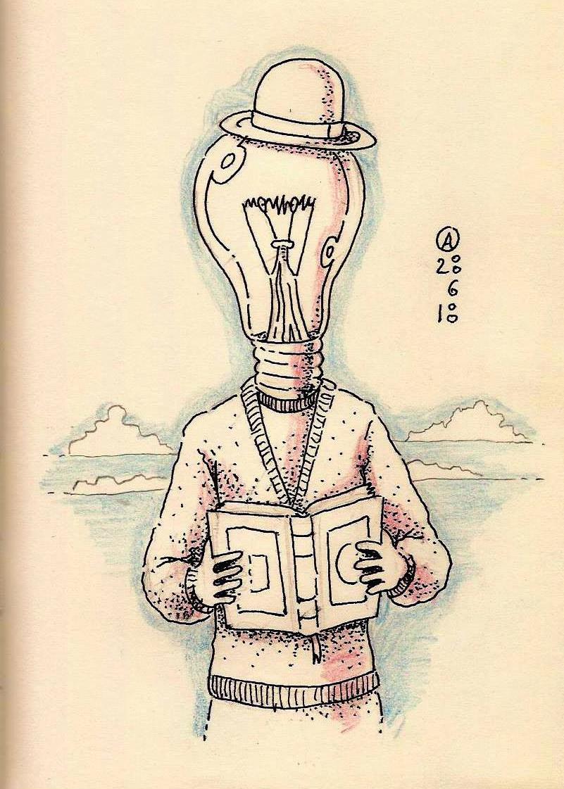 Leer te ilumina en el camino - Bolígrafo y lapices de colores