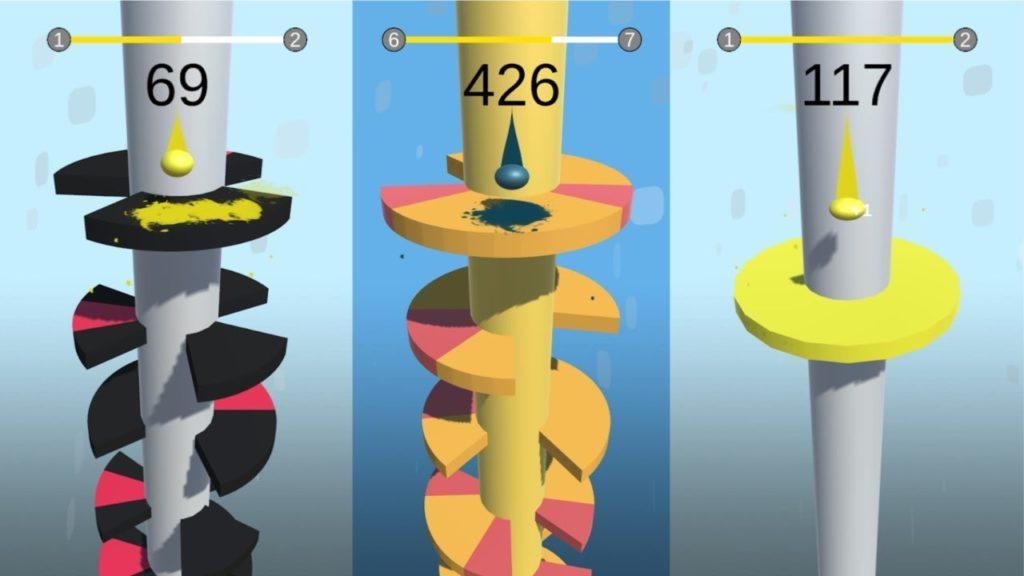 Capturas de pantalla de 3 niveles distintos de Helix Jump - Fuente de las imágenes: canal de KruGames en Youtube