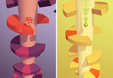 Capturas de pantalla de 2 niveles distintos de Helix Jump - Fuente de las imágenes: ficha del juego en Google Play