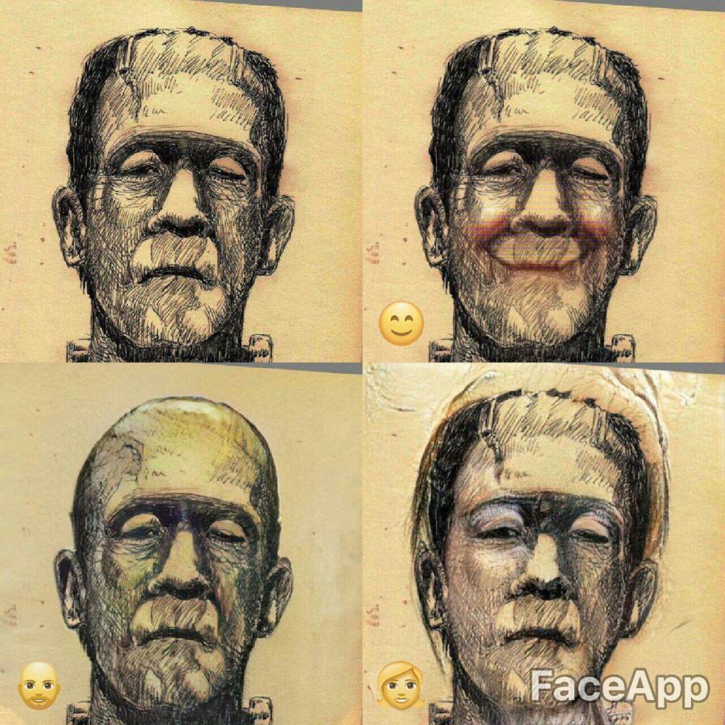 FaceApp haciendo de las suyas con el monstruo de Frankenstein