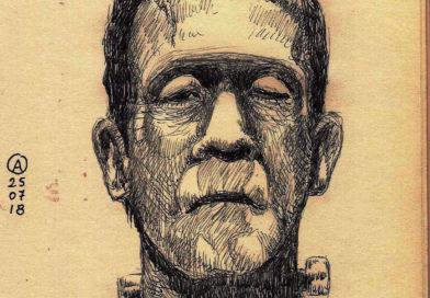 Ilustración de Boris Karloff caracterizado como el monstruo de Frankenstein