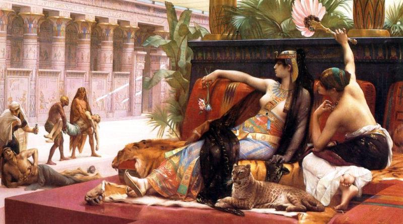 La vida amorosa de Cleopatra: esposos y amantes. Cleopatra prueba venenos en presos condenados por Alexandre Cabanel