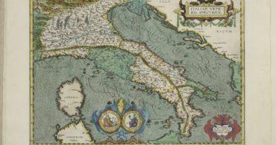 Mapa antiguo de Italia por Abraham Ortelius