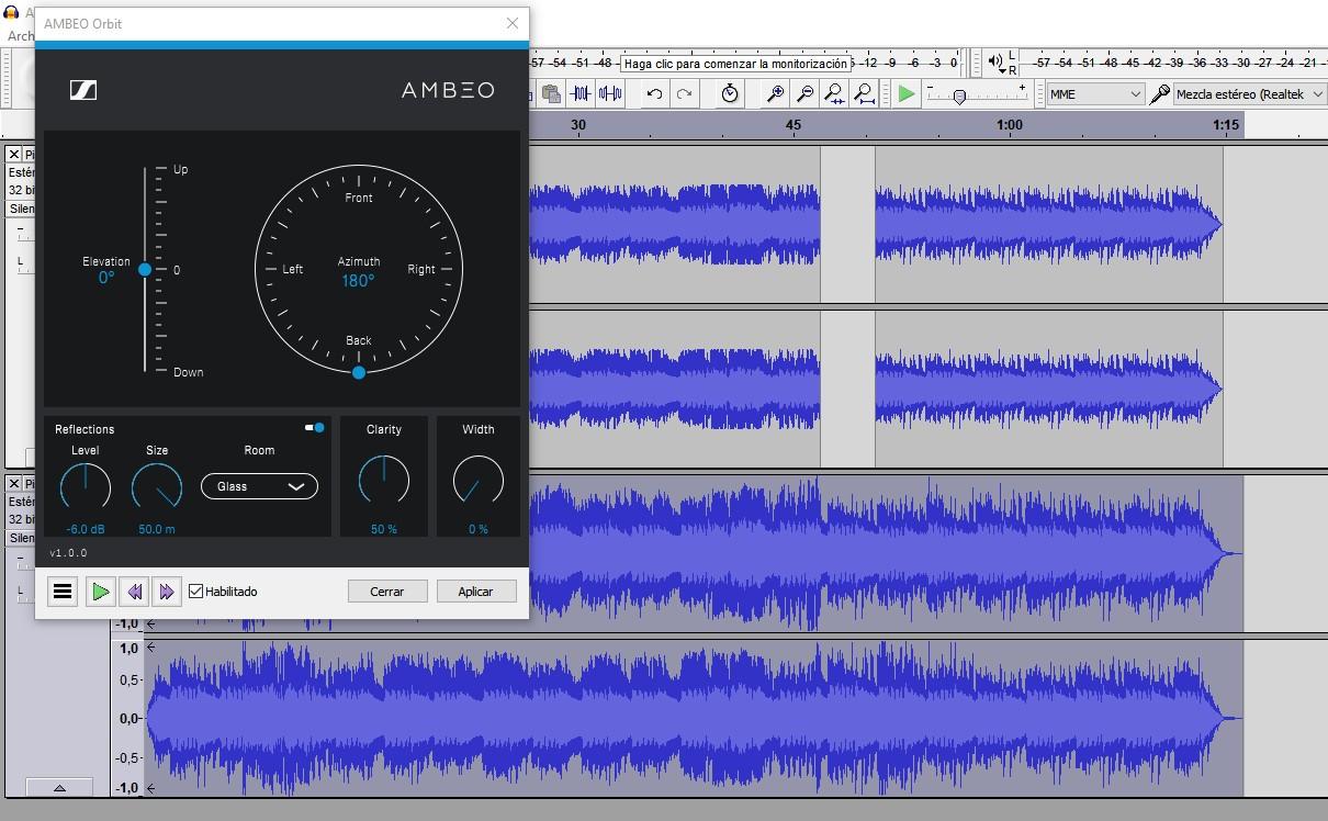 Crear sonido 8D con Ambeo Orbit y Audacity