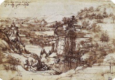 Infacia y juventud de Leonardo da Vinci - Estudio de un paisaje de la Toscana, Valle del Arno (1473) - Primer dibujo conocido de Leonardo da Vinci