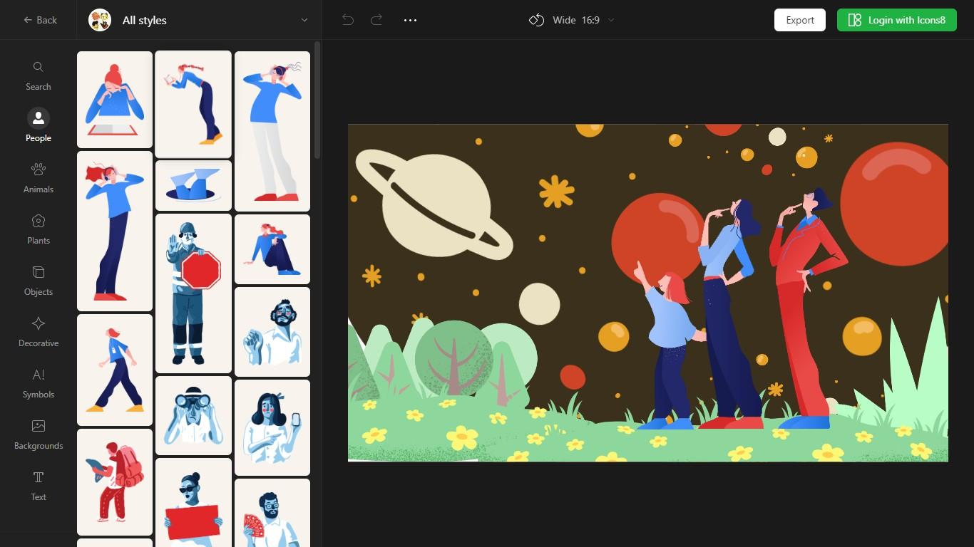 Vector Creator de icon8 - Herramienta online para crear ilustraciones sin saber dibujar