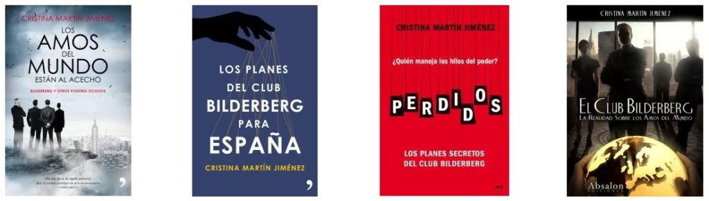 Algunos de los libros escritos por Cristina Martín Jiménez sobre El Club Bilderberg - Fuente de la imagen: cristinamartinjimenez.com/cristina-martin-jimenez-libros/